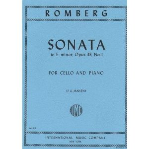 Romberg Sonata In E Minor Op. 38 No. 1. For Cello and piano. Edited by Peter Jansen. International